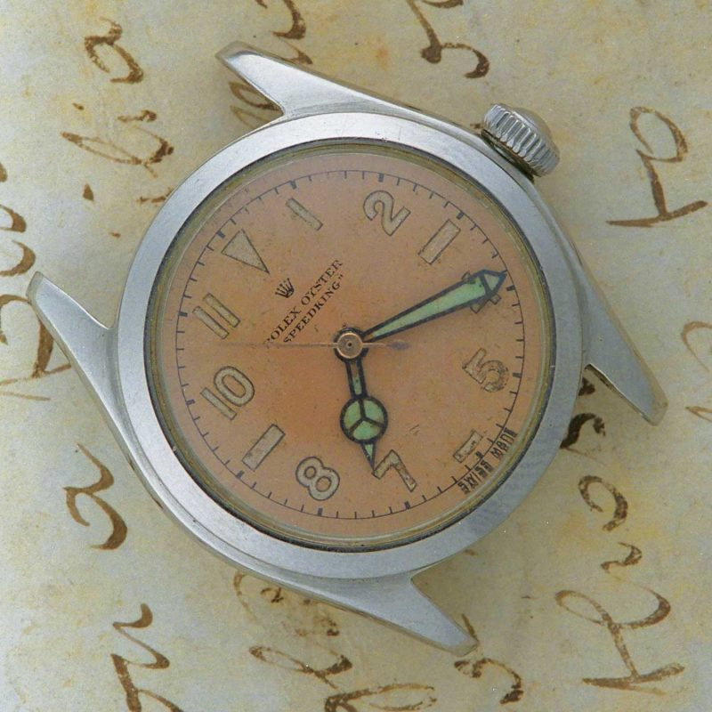 A manual-wind Speedking from the 1940s with pink dial