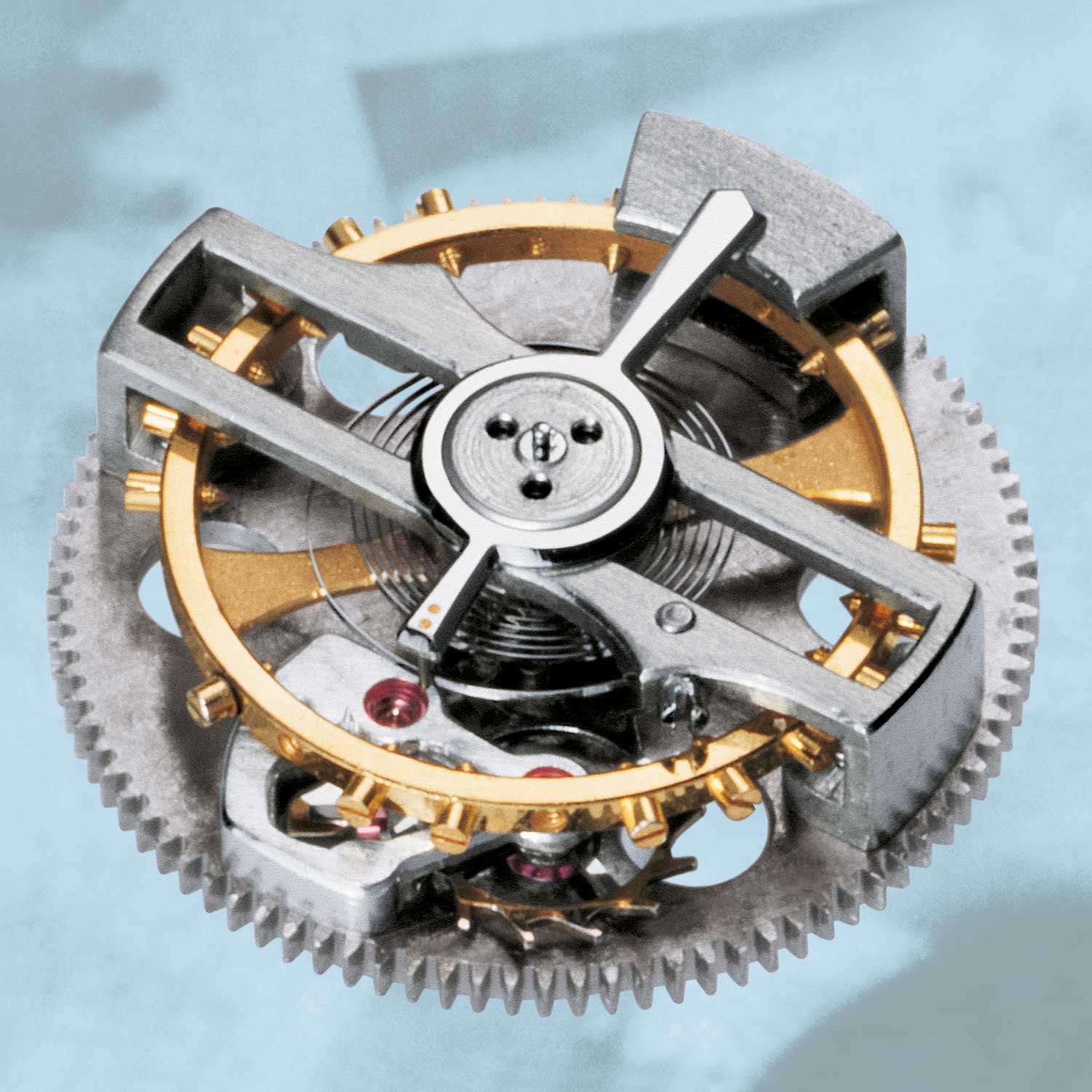 The tourbillon mechanism of the of the Calibre 2870 which weighed but a mere 0.123 grams)