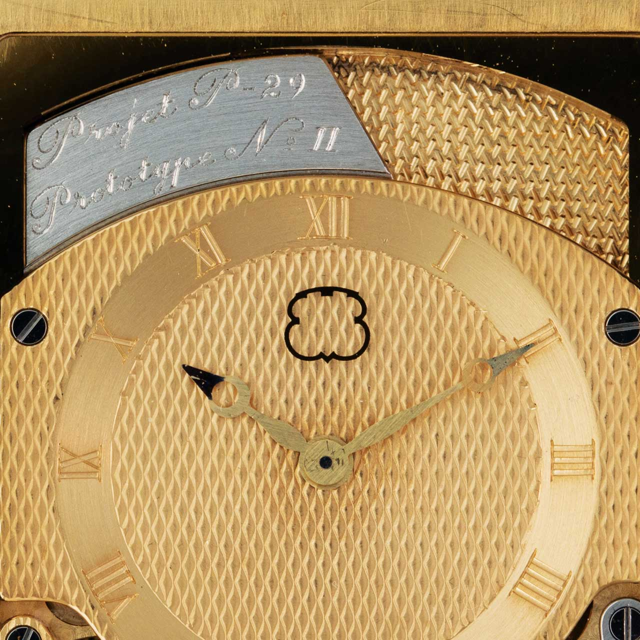 The dial of the Beyner and Grimm prototype sold by Phillips in May 2016 clearly shows the logo of Ebauches SA or, as it later became known, ETA (Picture courtesy of Phillips)