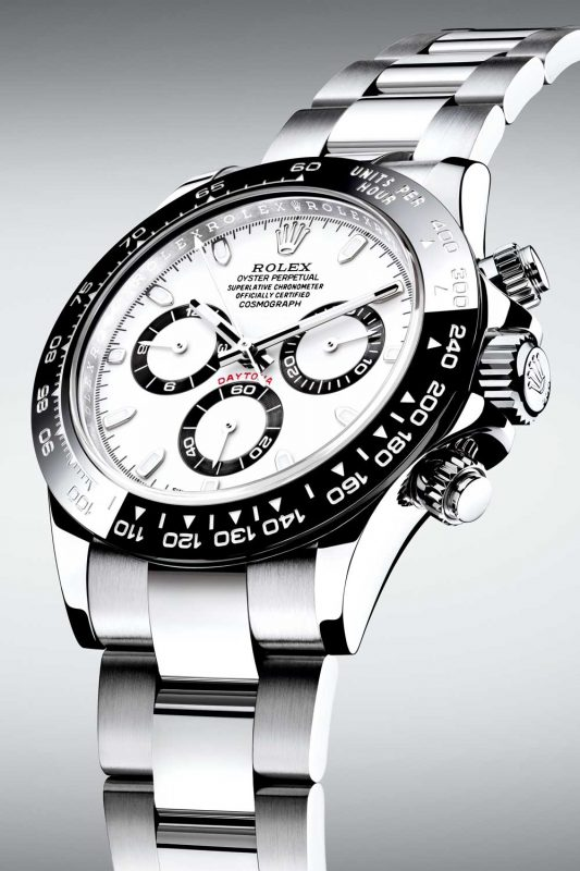 The 2016 Rolex Daytona (ref. 116500LN) featuring a black Cerachrom bezel and white dial