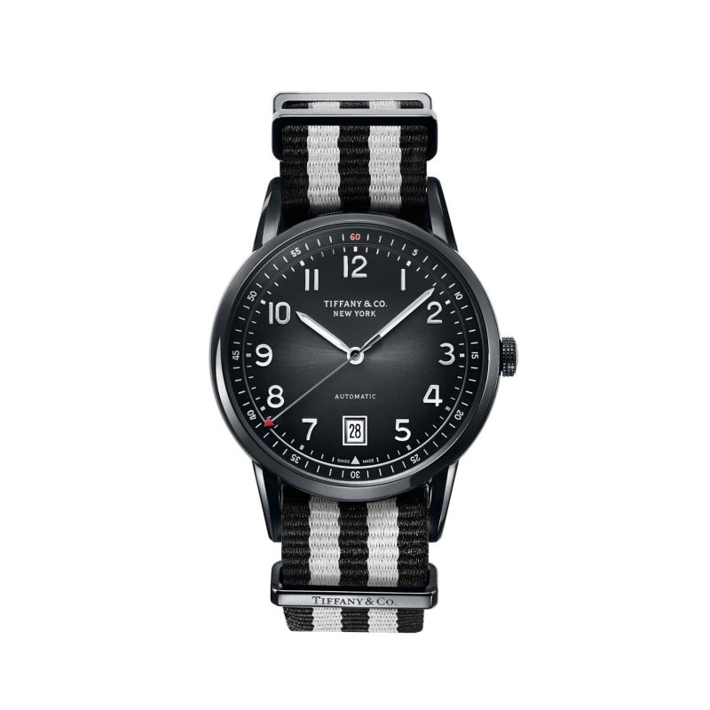 Tiffany CT60® 3-Hand 40 mm men's watch in stainless steel on a black NATO strap (Source: Tiffany & Co)