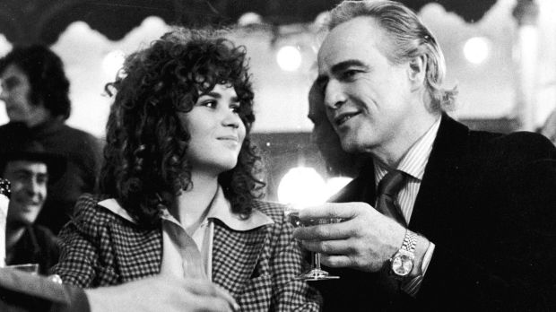 French actress Maria Schneider next to Marlon Brando