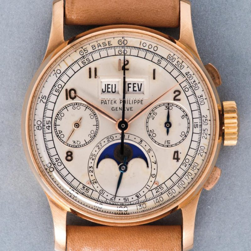Patek Philippe Perpetual Calendar Chronograph ref. 1518 in pink gold (Source: phillips.com)