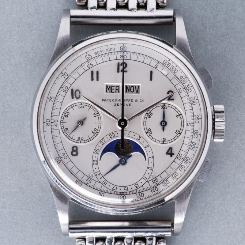Patek Philippe Perpetual Calendar Chronograph ref. 1518 in stainless steel (Source: phillips.com)