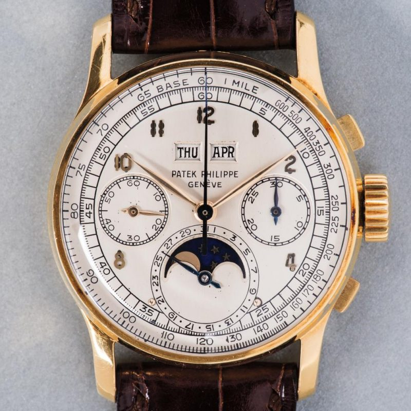 Patek Philippe Perpetual Calendar Chronograph ref. 1518 in yellow gold (Source: phillips.com)