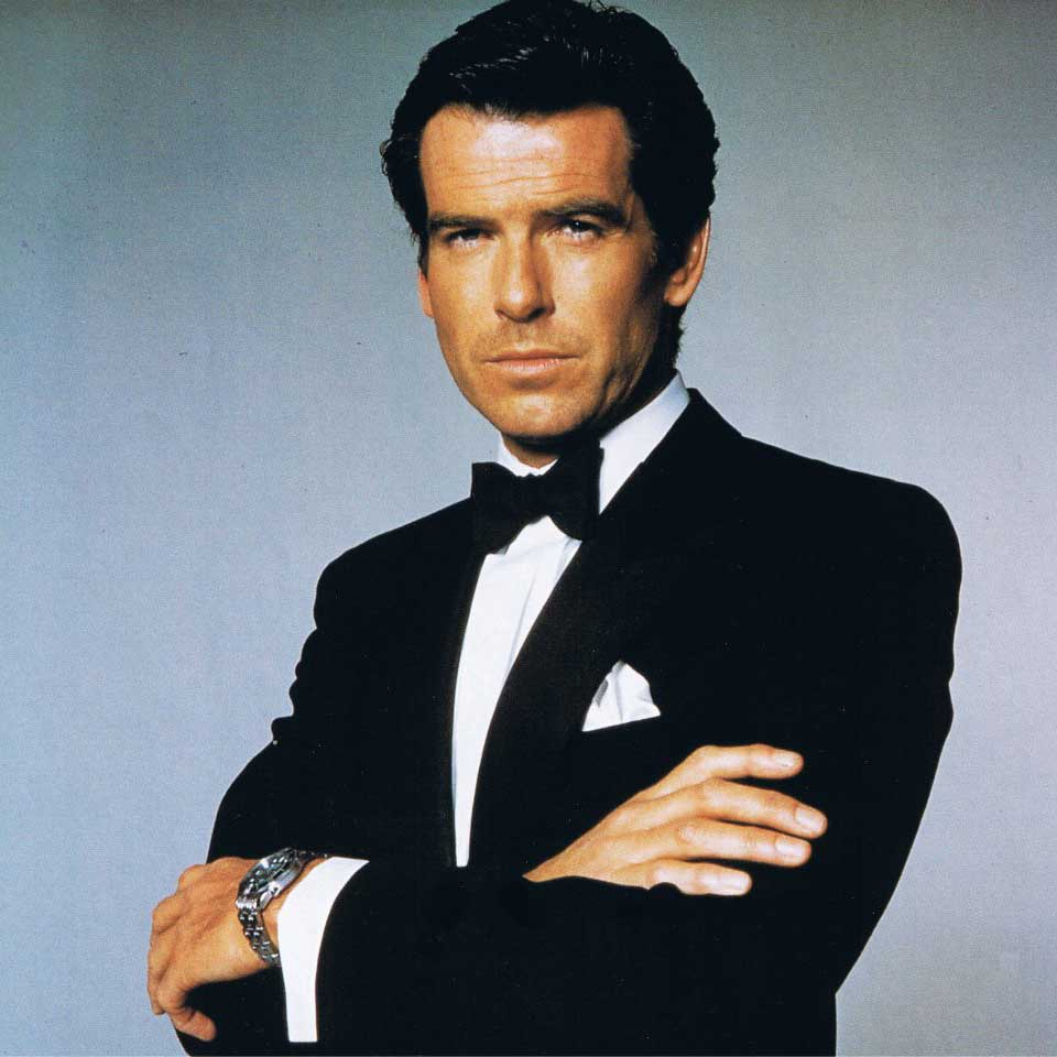 Pierce Brosnan posing for a poster for the 1995 Bond instalment, GoldenEye