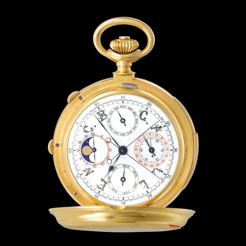 Patek Philippe gold hunter-case, minute-repeating, perpetual calendar, split-second pocket-watch, circa 1904
