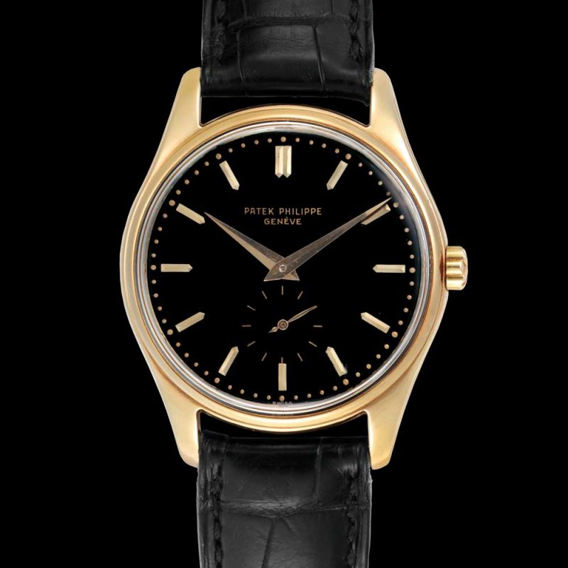 Patek Philippe gold automatic wristwatch with black enamel dial, ref. 2526