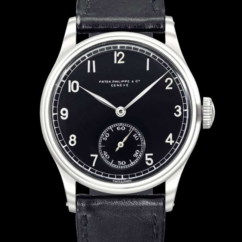 Patek Philippe stainless-steel wristwatch with black dial