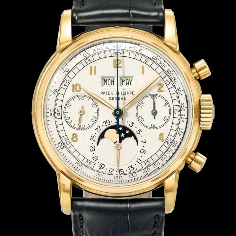 Patek Philippe gold perpetual calendar, chronograph wristwatch with moonphases. Signed Patek Philippe, Genève, ref. 2499