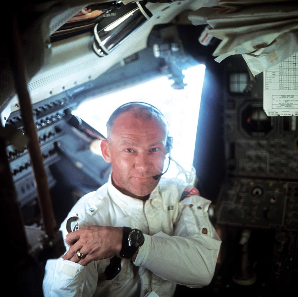 Buzz Aldrin in the Apollo 11 Lunar Module, his Omega Speedmaster ST105.012 in clear view (Image: NASA.gov)