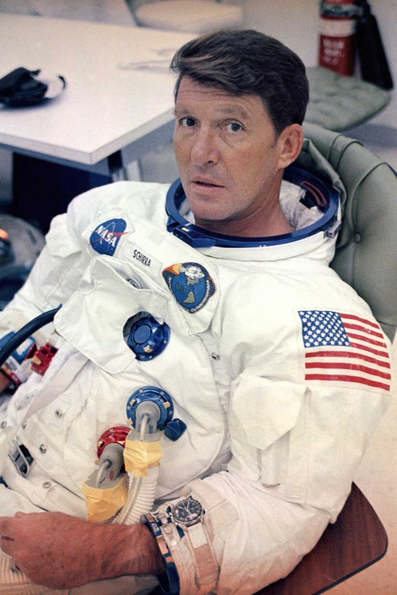 A Speedmaster CK2998 on the wrist of Mercury Atlas 8 Astronaut Wally Schirra