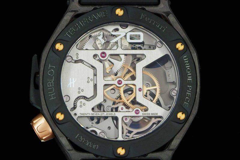 Pièce unique version of the Techframe Ferrari 70 Years Tourbillon Chronograph in PEEK Carbon & King Gold