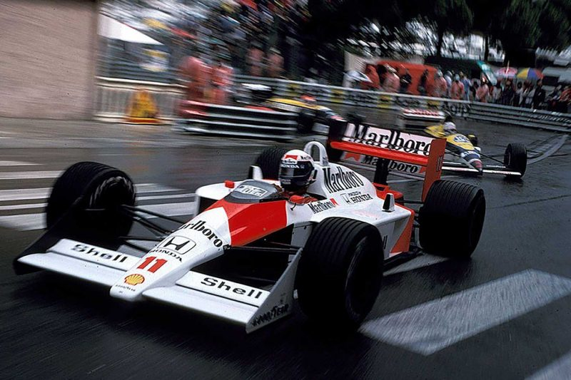 Alain Prost with McLaren at Monaco, 1988