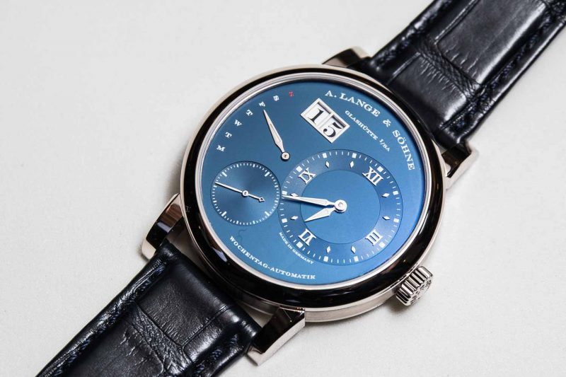 The Lange 1 Daymatic with a blue dial