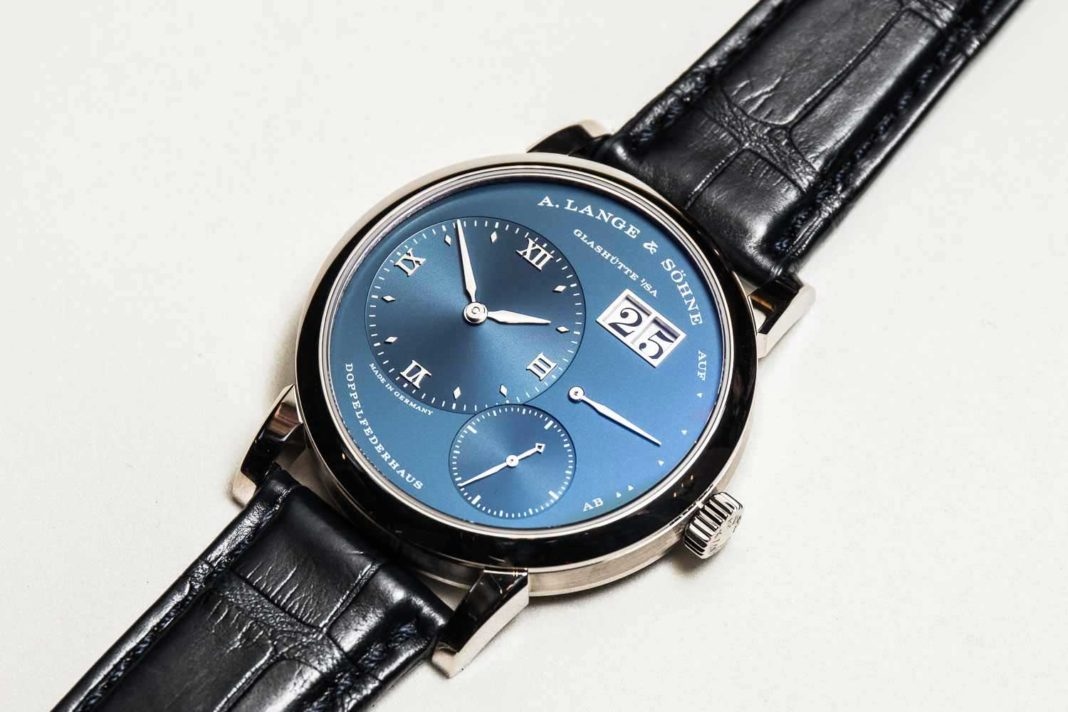 The Lange 1 with a blue dial