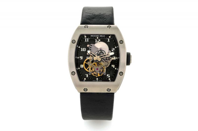 The RM 006, revealed in 2005, was the first wristwatch ever to have its baseplate made of carbon nanofiber (Image: antiquorum.com)