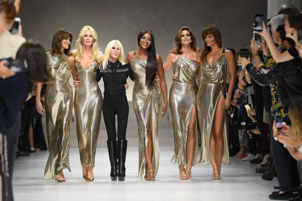 Carla Bruni, Claudia Schiffer, Naomi Campbell, Cindy Crawford and Helena Christensen with Donatella Versace