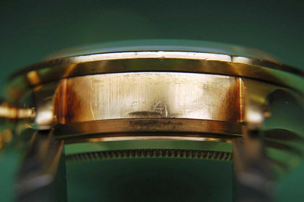 """Reference number on the Rolex """"John Player Special"""" Paul Newman Daytona case confirming it's a ref. 6241"""