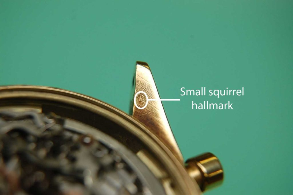 "Small squirrel hallmark on the case lug of the Rolex ""John Player Special"" Paul Newman Daytona ref. 6241"