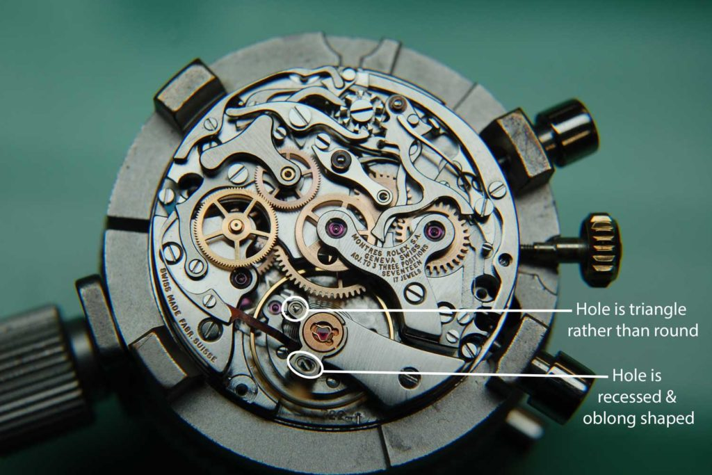 The labeled 722 movement showing the modifications Rolex made to it