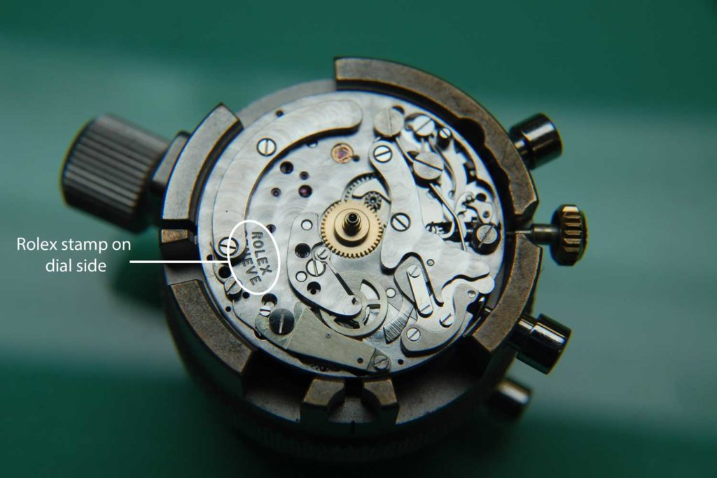 Labeled diagram of the 722 movement seen from the dial side