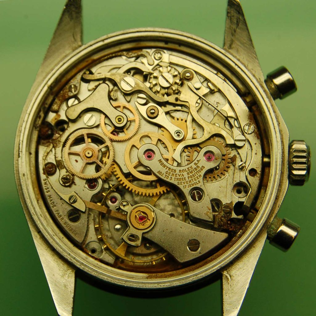 Visible rust in the movement of the 6239 Paul Newman Daytona