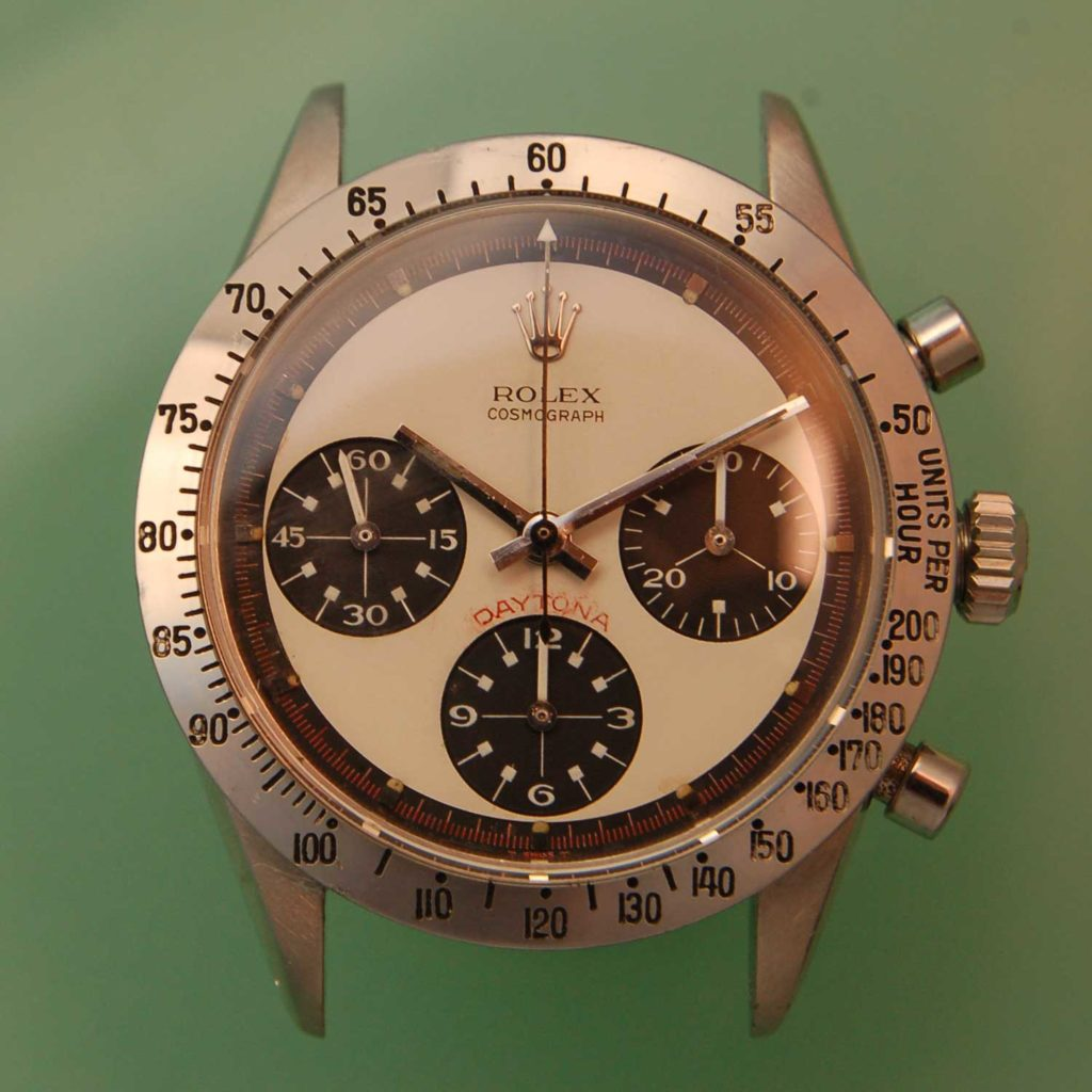 The dial of the Paul Newman Daytona 6239 after Bob serviced it