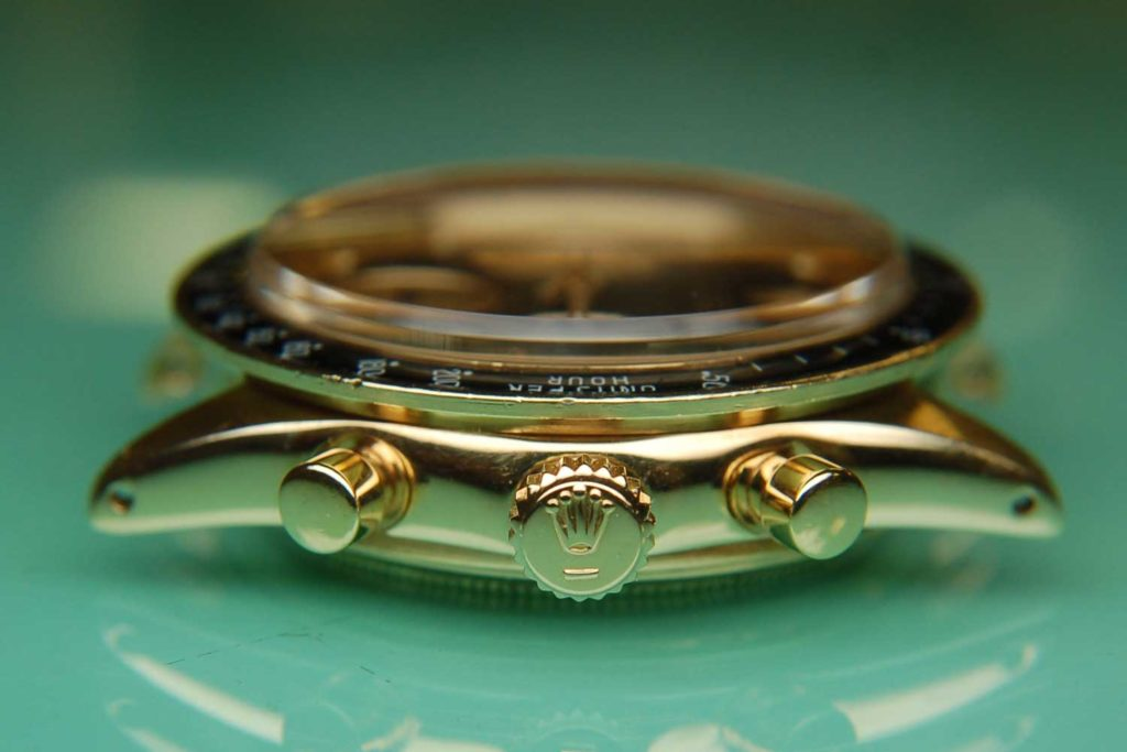 """Case side of the Rolex """"John Player Special"""" Paul Newman Daytona ref. 6241"""