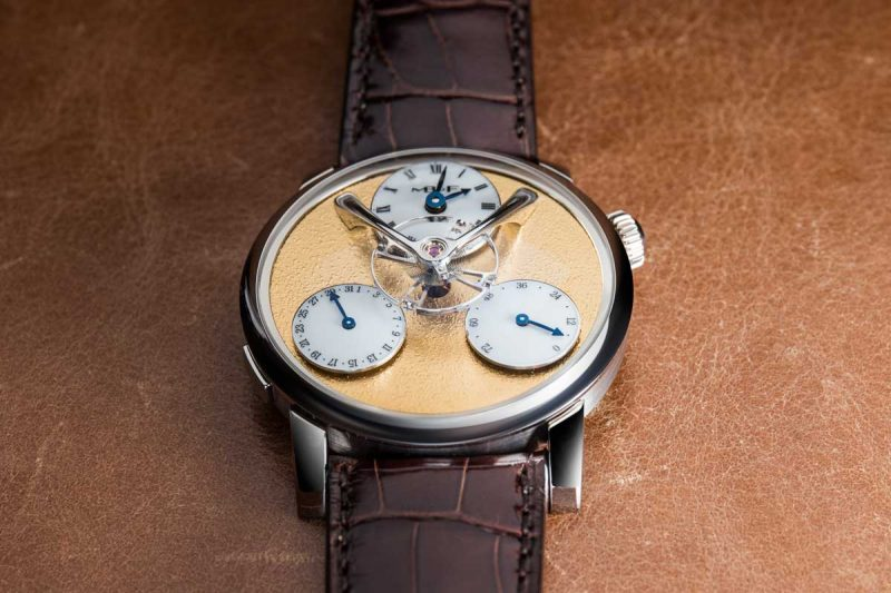 MB&F Legacy Machine 'Split Escapement' with a yellow gold frost dial