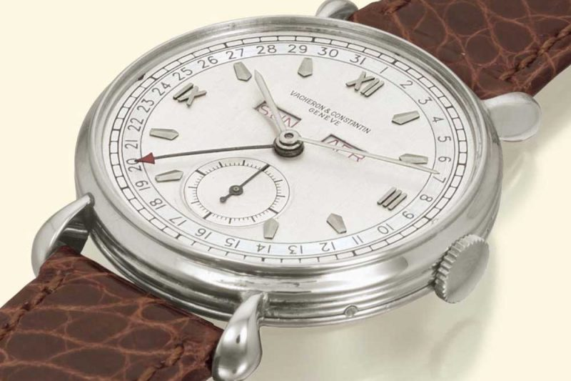 Vacheron Constantin ref. 4240 triple calendar watch in steel showing the triple gadroon case side