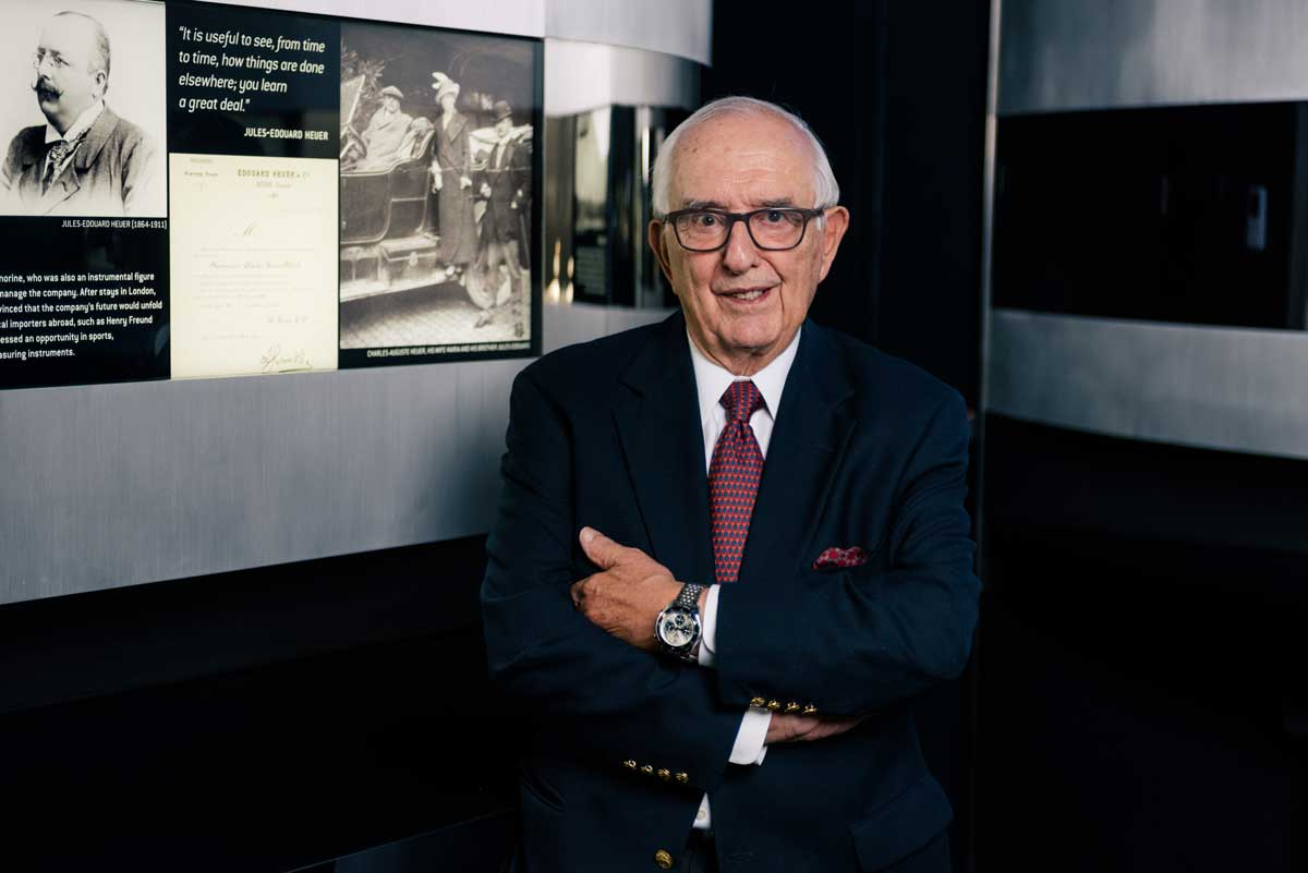 Jack Heuer with the TAG Heuer Autavia - Jack Heuer 85th Anniversary on his wrist