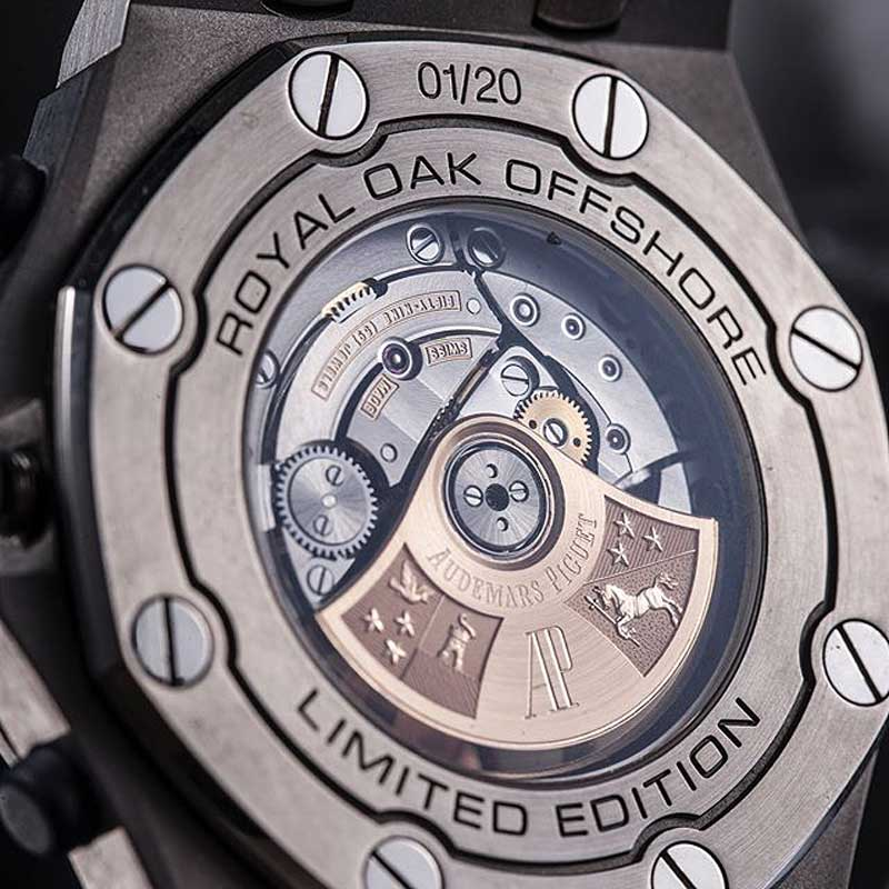 The see through caseback of the Royal Oak Offshore Revolution Limited Edition