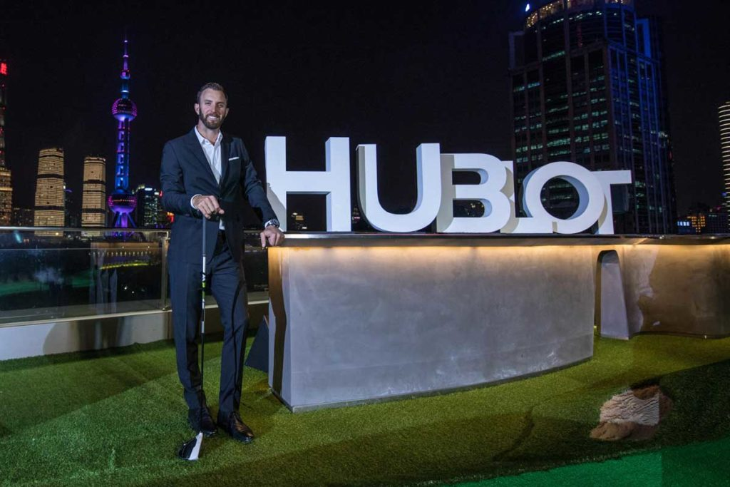 Dustin Johnson in Shanghai with Hublot