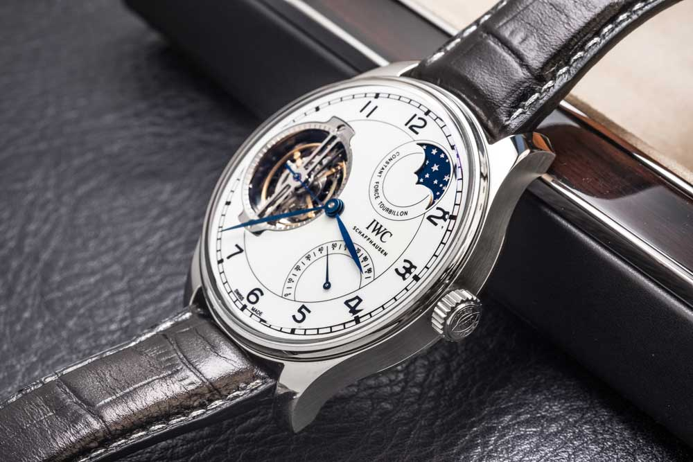 "Portugieser Constant-Force Tourbillon Edition ""150 Years"" in platinum (© Revolution)"