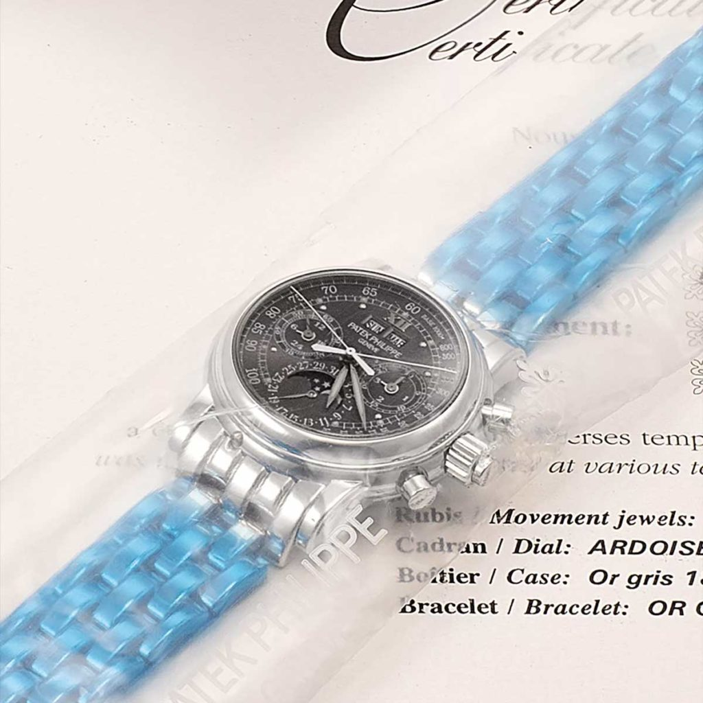 Factory sealed Patek Philippe perpetual calendar split seconds chronograph wristwatch with moon phase ref. 5004/1G (Image: PhillipsWatches.com)