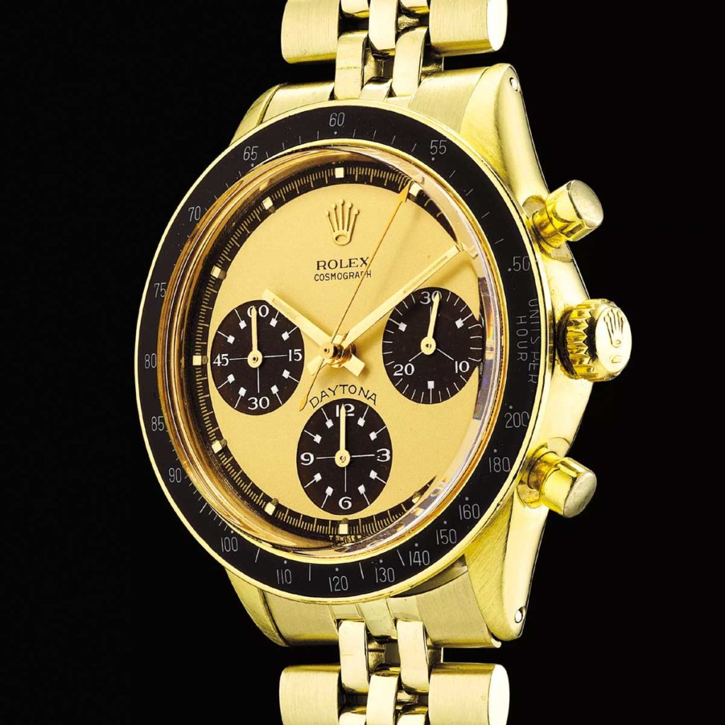 "14k gold Rolex Paul Newman Daytona ref. 6241 with the ""Lemon"" dial (Image: PhillipsWatches.com)"