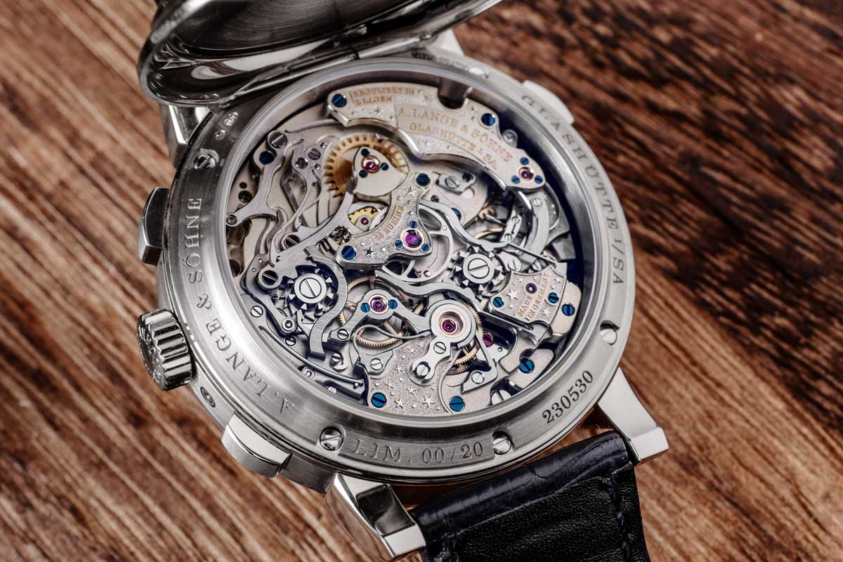 The incredibly decorated caliber L101.1 of the 1815 Rattrapante Perpetual Calendar Handwerkskunst (2017) 20-watch Limited Edition (© Revolution)