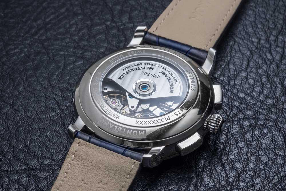 Montblanc Manufacture Caliber MB 25.02 visible through the caseback of the Star Legacy Automatic Chronograph