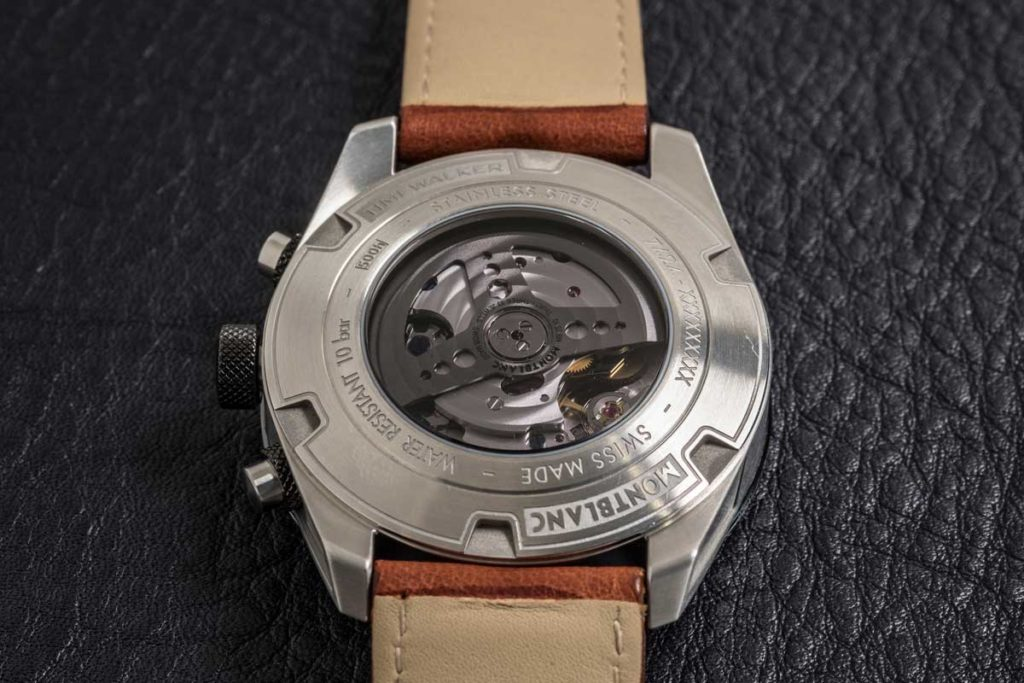 The MB 25.10 movement of the Montblanc TimeWalker Manufacture Chronograph visible through the caseback