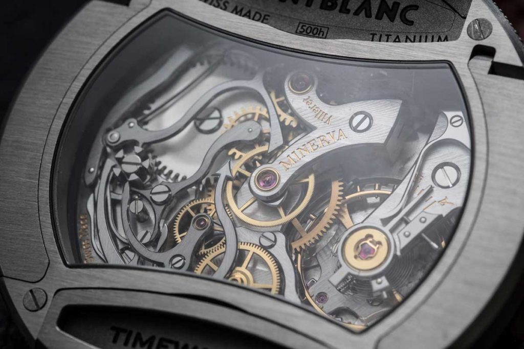 The Manufacture Caliber MB 16.29 visible through the caseback of the TimeWalker Rally Timer Chronograph Limited Edition 100