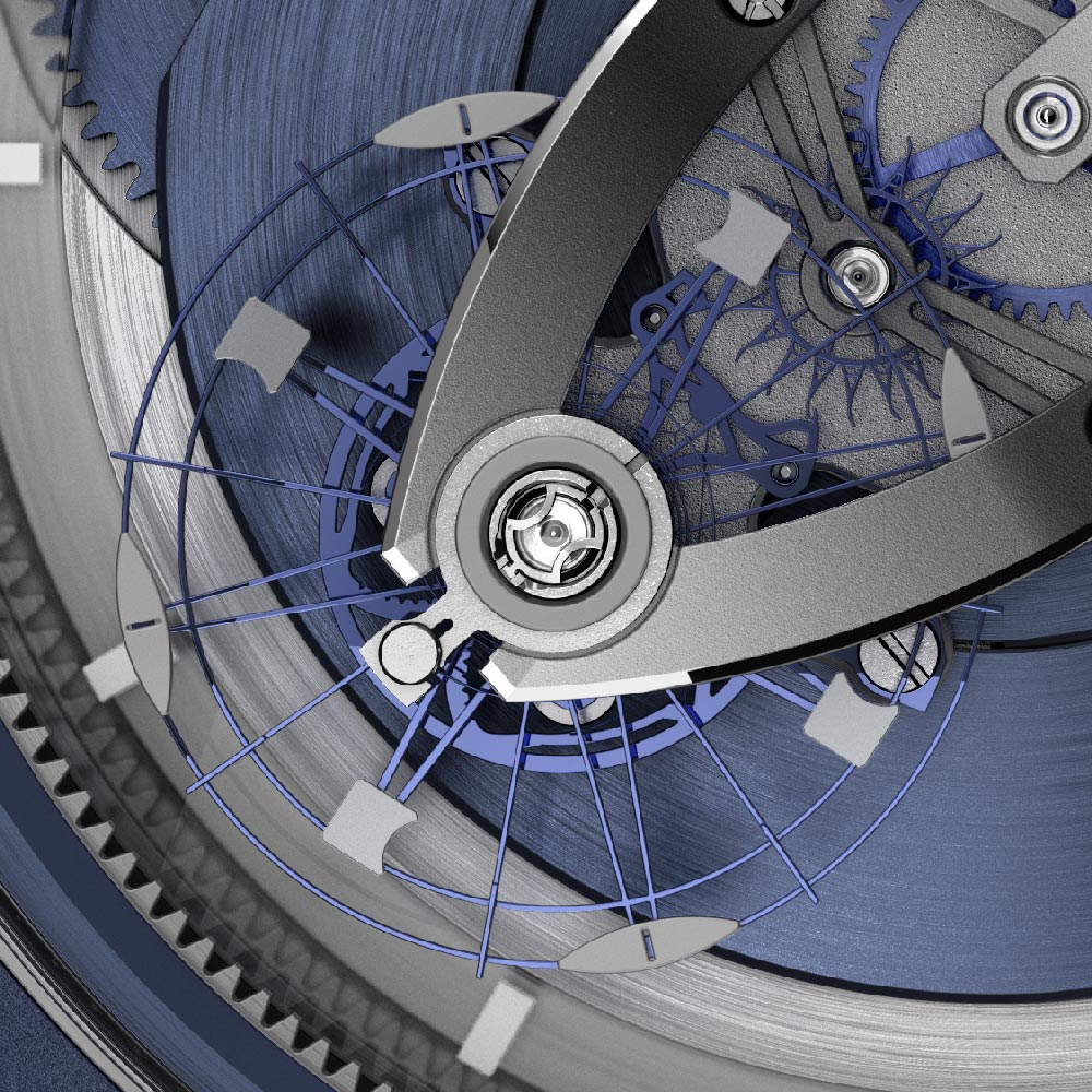 The silicium balance wheel of the Ulysse Nardin Freak Vision with welded nickel inertia blocks
