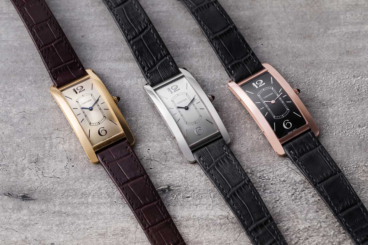 Trio of 2018 Cartier Tank Cintree watches (©Revolution)