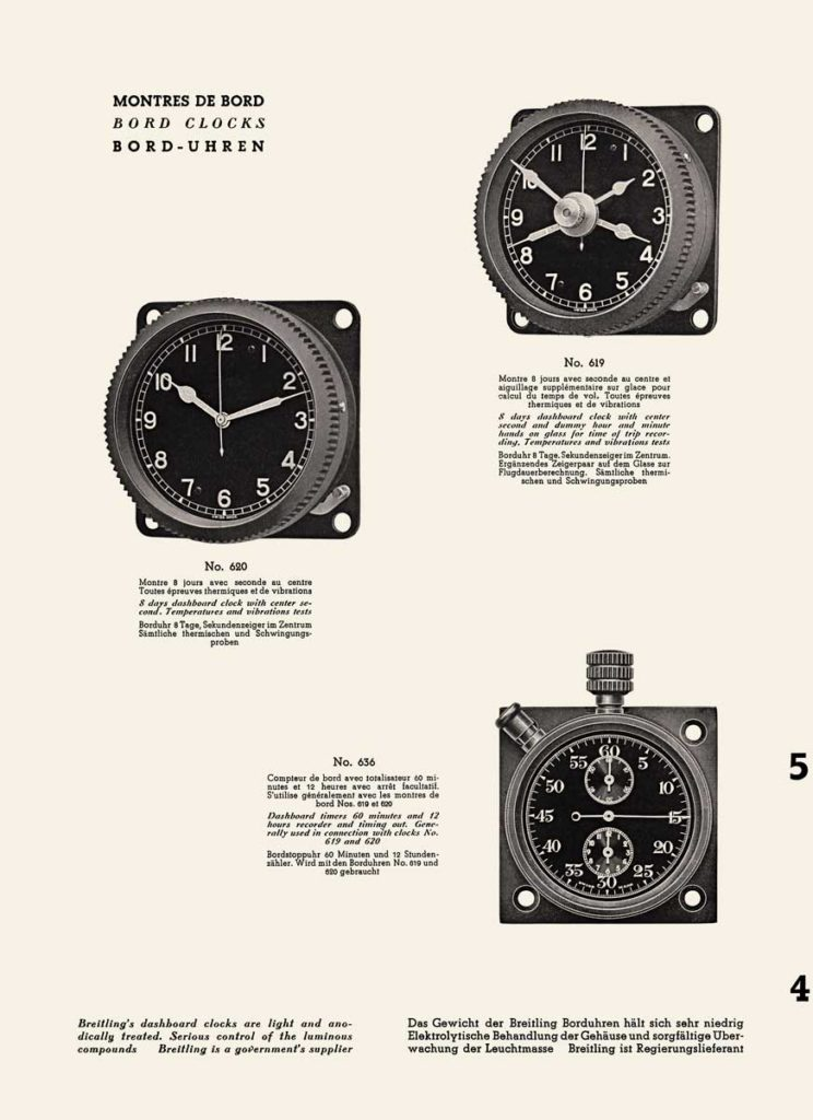 On-board chronographs and instruments for pilots, Breitling catalog, 1941. (PPR/Breitling)