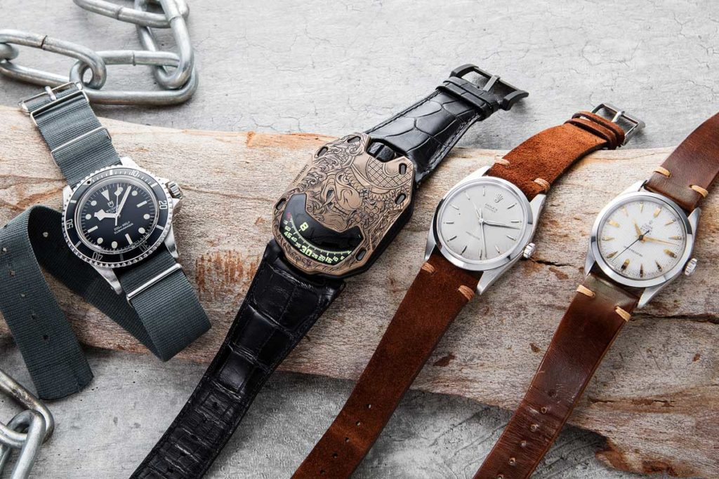 Selection of watches on the Revolution Shop now: 1978 Tudor Submariner Ref. 9401/0 issued by the Canadian Navy, piece unique URWERK x Revolution UR-105 Bronze Samurai, Rolex Oyster Precision Ref. 6424, 1953 Oyster Royal Ref. 7934 (Image © Revolution)