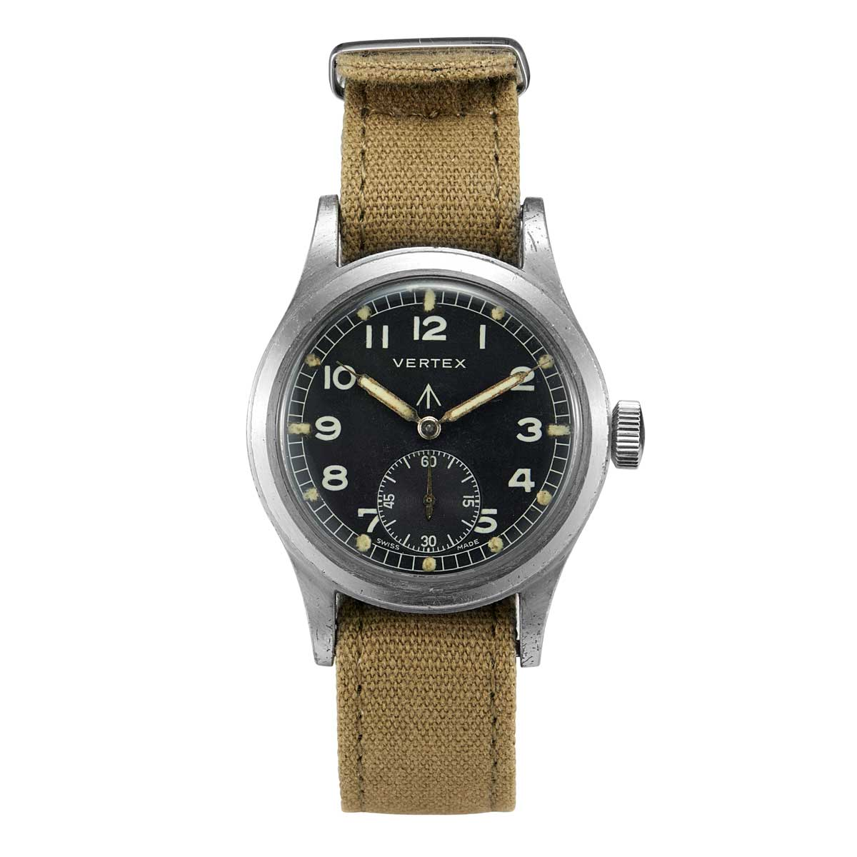 An original Vertex watch issued by the UK Ministry of Defence in the 1940s