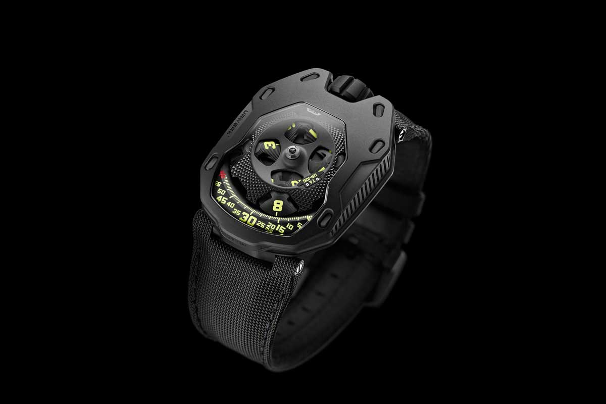 "The UR-105 TA a.k.a. ""URWERK Knights"" was introduced in April of 2015, first in red gold and all black and later in funky Black Lemon and Black Orange versions"
