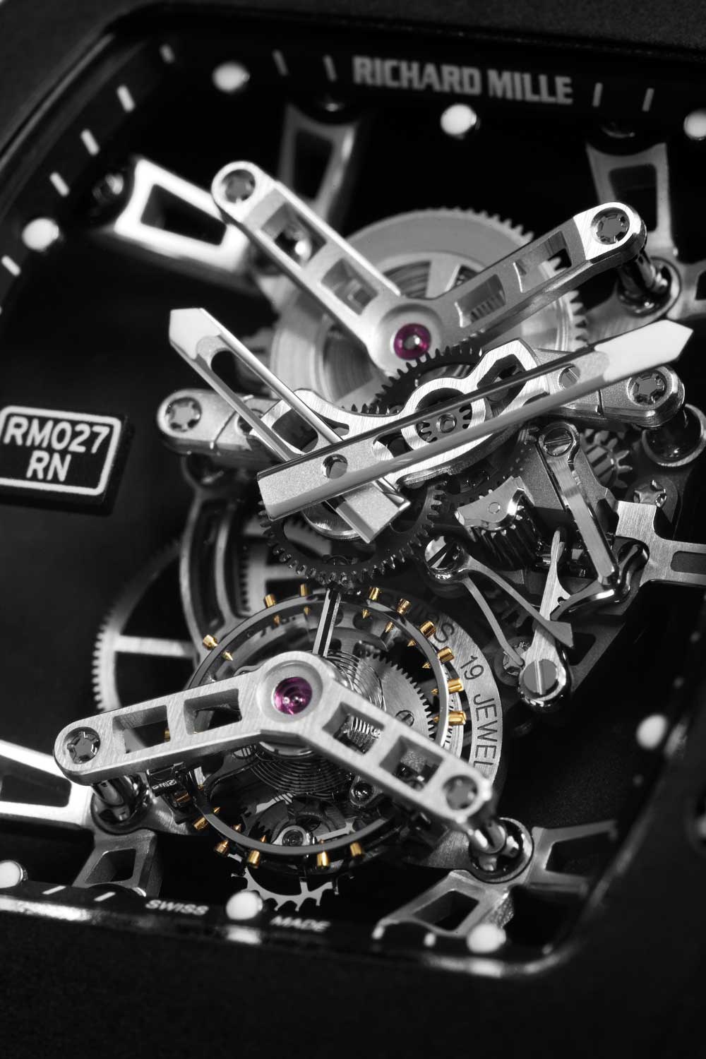 The RM 027 features a monobloc carbon-nanofibre case, aluminium lithium bridges making it ultra lightweight and super strong; a close-up of the tourbillon of the RM 027