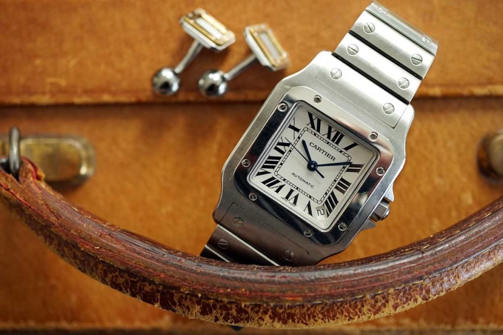 The Cartier Santos Galbée in steel (© George Cramer)