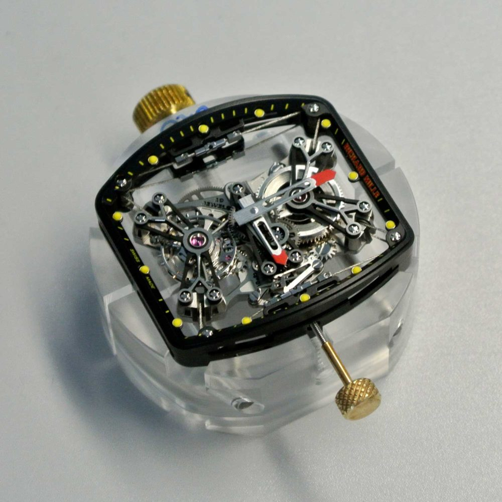 Richard Mille's RM027-01 tourbillon movement with plates made of aluminium lithium and suspended by cables only 0.35mm in diameter